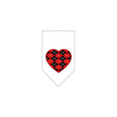 Ahi Argyle Heart Red Screen Print Bandana White Large