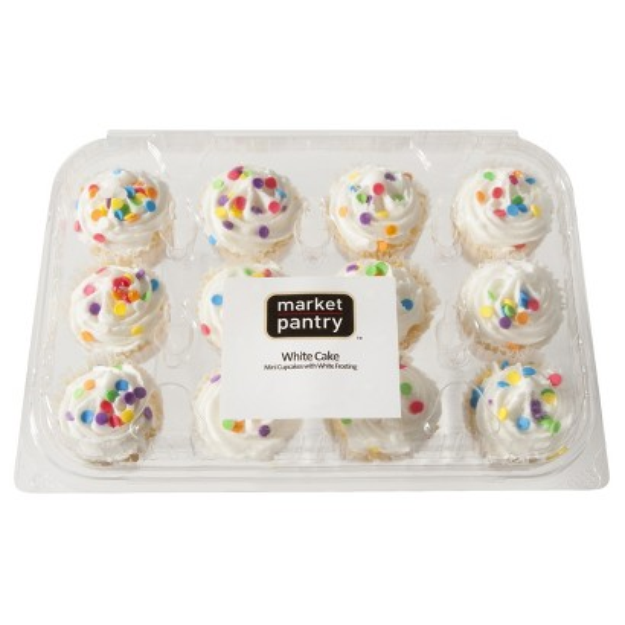 market pantry Market Pantry White Mini Cup Cakes with White Frosting 12 ct