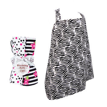 Test NURSING COVER AND BURP CLOTH SET BLACK & WHITE ZEBRA