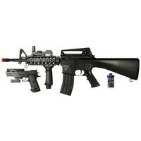 Soft Air M4 AEG Electric Powered Rifle/Spring Powered Pistol Airsoft Field Duty Kit (Clear)