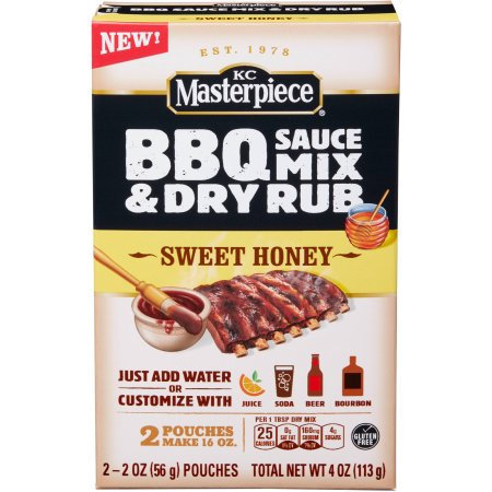 KC Masterpiece Sweet Honey BBQ Sauce Mix & Dry Rub, 2 oz, 2 count