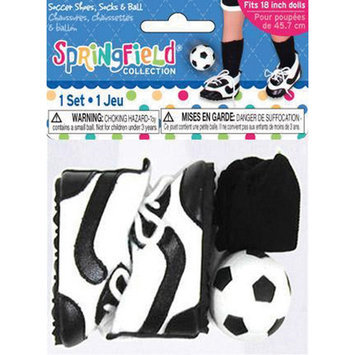 Fibre Craft 410537 Springfield Collection Soccer Outfit Accessories-Black & White Shoes Socks & Ball
