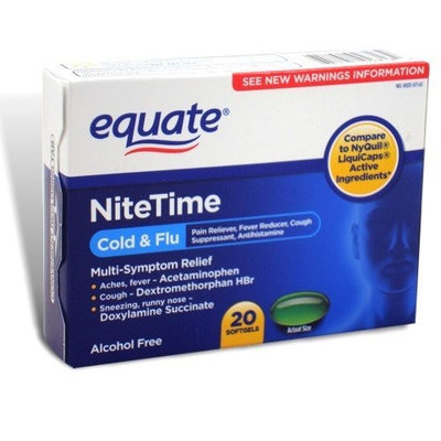 Equate - Nite Time, Multi-Symptom Cold/Flu Relief, 20 Softgels (Compare to NyQuil LiquiCaps)