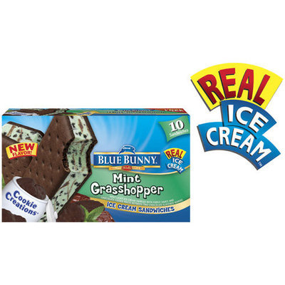 Blue Bunny Cookie Creations Mint Grasshopper Ice Cream Sandwiches, 10 count