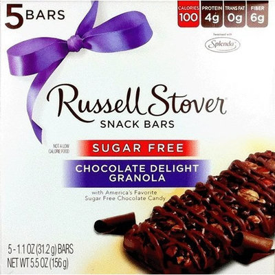 Russell Stover Sugar Free Chocolate Delight 100 Calorie Snack Bars (5 Per Box)