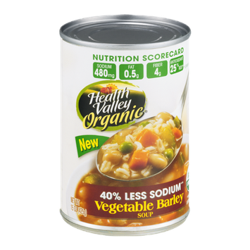 Health Valley Organic Soup Vegetable Barley 40% Less Sodium