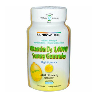 Rainbow Light Vitamin D Sunny Gummies Sour Lemon 1000 IU 50 Gummies