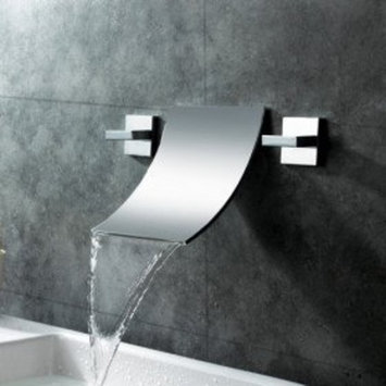MAX Waterfall Widespread Contemporary Bathroom Sink Faucet (Chrome Finish)
