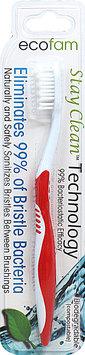 EcoFam - Anti-Bacterial Silver Toothbrush Red