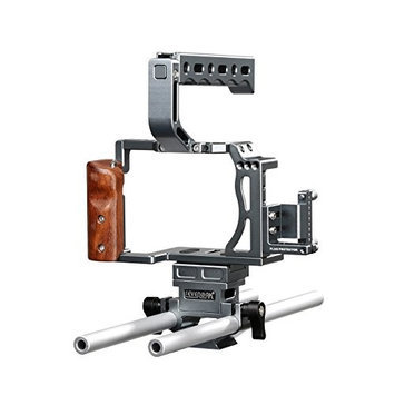 Sevenoak SK-A7C1 Aluminum Cage Kit for Sony A7, A7S, A7R, A7 II, A7R II, A7S II Camera, Includes Wood Grip, Top Hand Grip, Micro HDMI Adapter Cable, HDMI Plug Protector, Quick Release Base Plat