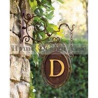 Intelligent Design One Sided IRON SCROLL MONOGRAM Initial Hanging Wall Plaque Bracket Personalized Outdoor
