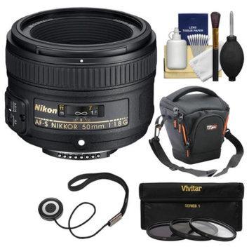 Nikon 50mm f/1.8G AF-S Nikkor Lens with Case + 3 UV/CPL/ND8 Filters + Kit for D3200, D3300, D5200, D5300, D7000, D7100, D610, D750, D800, D810 Cameras