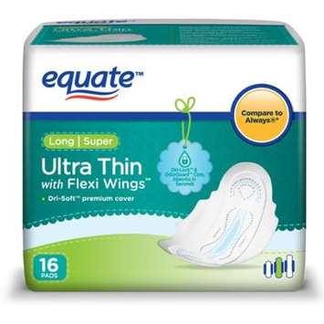 Equate Ultra Thin Super Long Pads With Wings, 16ct