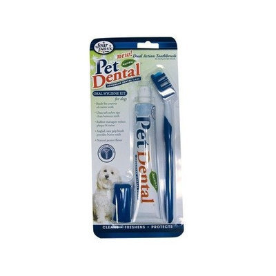 Four Paws PetDental Natural Oral Hygiene Kit for Dogs with Dual Action Toothbrush