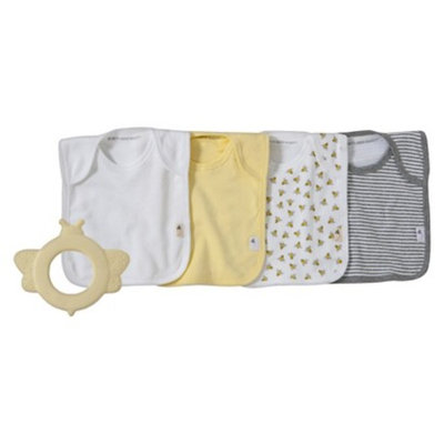 Burt's Bees Baby Natural Rubber Teether & Set of 4 Bibs - Sunshine