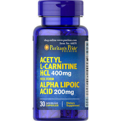 Puritan's Pride 2 Units of Acetyl L-Carnitine 400 mg with Alpha Lipoic Acid 200 mg-30-Capsules