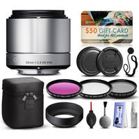47th Street Photo Sigma 60mm F2.8 DN Art Silver Lens for Sony E-Mount NEX (35S965) with Beginner Accessories Package includes 3 Piece Filter Set (UV-CPL-FLD) + Deluxe Cleaning Kit + Air Dust Blower + Cap Keeper + $50 Prints Gift Card