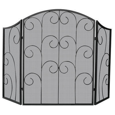 Uniflame UniFlame 3 Panel Black Wrought Iron Screen with Decorative Scroll