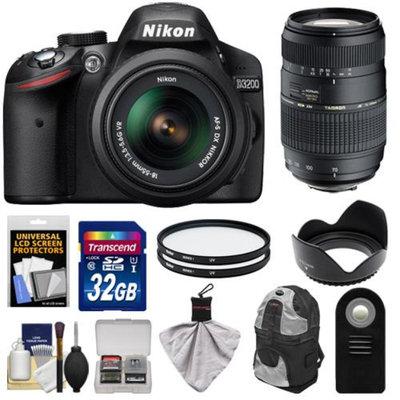 Nikon D3200 Digital SLR Camera & 18-55mm G VR DX AF-S Zoom Lens (Black) with 70-300mm Lens + 32GB Card + Backpack + Filters + Remote + Accessory Kit