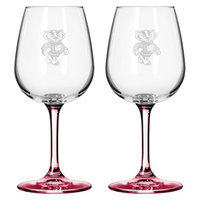 NCAA Wisconsin Badgers Boelter Brands 2 Pack Satin Etch Wine Glass - 12 oz