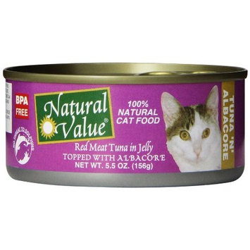 Natural Value Red Meat Tuna in Jelly Topped with Albacore Cat Food, 5.5 Ounce Cans (Pack of 24)
