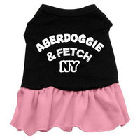 Mirage Pet Products 5801 LGBKPK Aberdoggie NY Dresses Black with Pink Lg 14