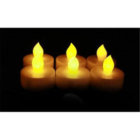 Candle Choice D38T-P1518T-6 Ivory Plastic Cover Amber-Color Tealight With Timer Set Of 6