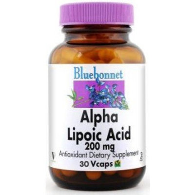 BlueBonnet Alpha Lipoic Acid Vegetarian Capsules, 200 mg, 30 Count