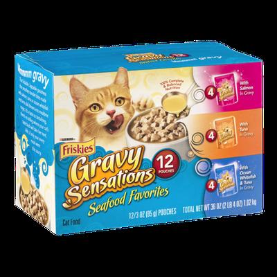 Purina Friskies Gravy Sensations Seafood Favorites Cat Food Variety Pack - 12 CT