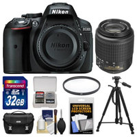 Nikon D5300 Digital SLR Camera Body (Black) - Factory Refurbished with 55-200mm DX Zoom Lens + 32GB Card + Case + Tripod + Filter + Kit