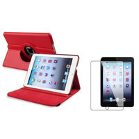 Insten iPad Mini 3/2/1 Case, by INSTEN Red Case Rotating Leather Case Stand Cover+2pcs Protector for Apple iPad Mini 1 2 3