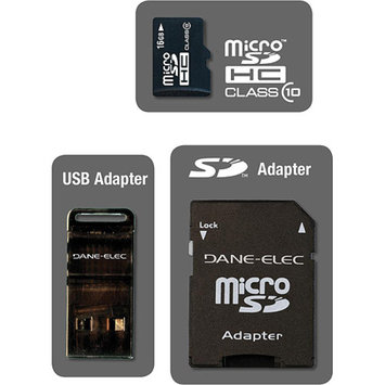 DANE-ELEC Dane-Elec DA-3IN1C1016G-R 16 GB MicroSD High Capacity (microSDHC) - 1 Card with 2 Adapters