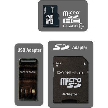 DANE-ELEC Dane-Elec DA-3IN1C1016G-R 16 GB MicroSD High Capacity (microSDHC) - 1 Card with 2 Adapters