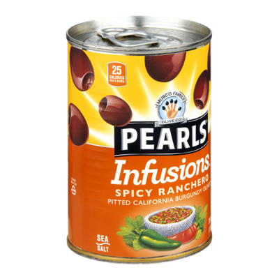 Musco Family Olive Co. Pearls Infusions Spicy Ranchero Pitted California Burgundy Olives