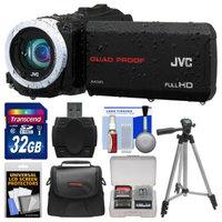 JVC Everio GZ-R10 Quad Proof Full HD Digital Video Camera Camcorder (Black) with 32GB Card + Case + Tripod + Accessory Kit