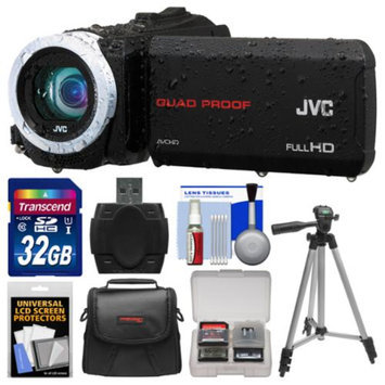 JVC Everio GZ-R10 Quad Proof Full HD Digital Video Camera Camcorder (Black) with 32GB Card + Case + Tripod + Accessory Kit