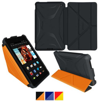 Kindle Fire HD 6 Tablet (2014) Case, roocase new Kindle Fire HD 6 Origami 3D Slim Shell Case with Sleep / Wake Smart Cover for All-New Fire HD 6 Tablet (2014), Granite Black / roocase Orange