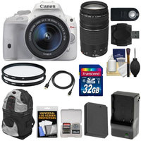 Canon EOS Rebel SL1 Digital SLR Camera & EF-S 18-55mm IS STM Lens (White) with 75-300mm III Lens + 32GB Card + Battery + Backpack + Filters + Accessory Kit