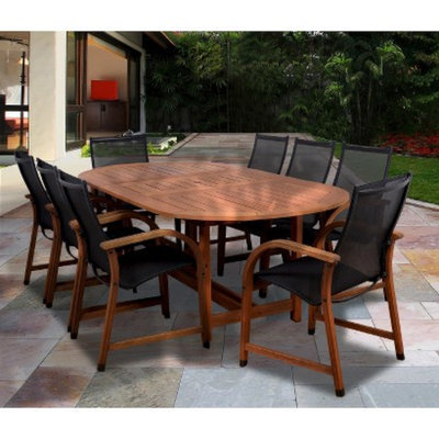 Inter'l Home Miami Gables 9-Piece Wood/Sling Extendable Oval Patio Dining Furniture Set