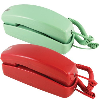 Golden Eagle Electronics (Set) Trimline Green & Red Phones - Design From 60s With Modern Electronics