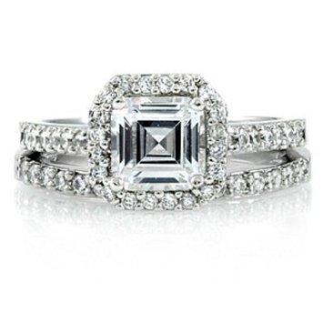 Emitations Devon's 1.5 CT Asscher Cut CZ Wedding Ring Set
