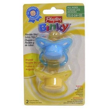 Playtex Baby Binky Angled Latex Pacifiers: Yellow-Light Blue