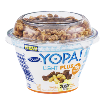 YoCrunch Yopa! Light Plus Greek Nonfat Yogurt Vanilla with Zone Perfect Chocolate Peanut Butter Pieces