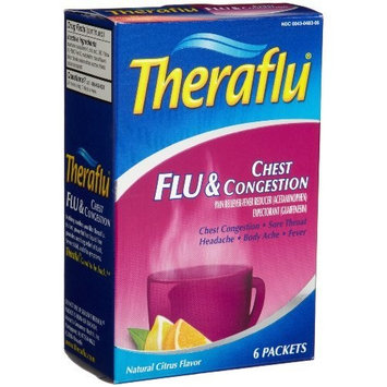 Theraflu Flu & Chest Congestion, Citrus Flavor, 6-Count Packets (Pack of 2)