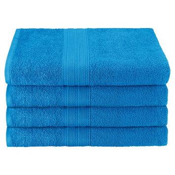 Blue Nile Mills Eco Friendly 4-Piece 100% Ring-Spun Cotton Absorbent Bath Towel Set, Aster Blue