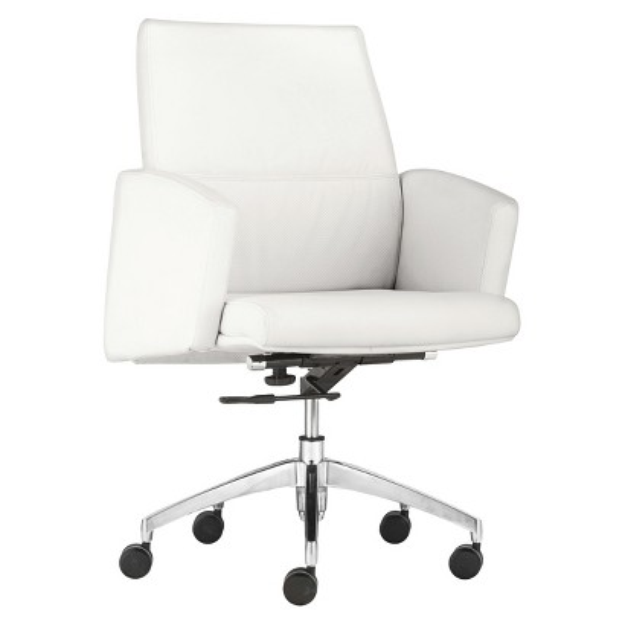 Office Chair: Zuo Modern Chieftain Low Back Office Chair - White