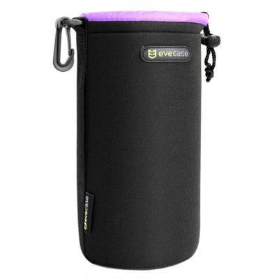 L Lens Pouch Carrying Case, Evecase Premium Universal Lens Pouch Carrying Case for DSLR / SLR Lens Large, Black w/Purple Lining