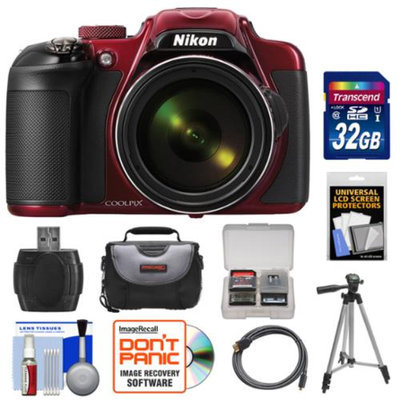 Nikon Coolpix P600 Wi-Fi Digital Camera (Red) with 32GB Card + Case + Tripod + HDMI Cable + Accessory Kit
