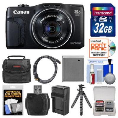 Canon PowerShot SX700 HS Wi-Fi Digital Camera (Black) with 32GB Card + Case + Battery & Charger + Flex Tripod + Kit