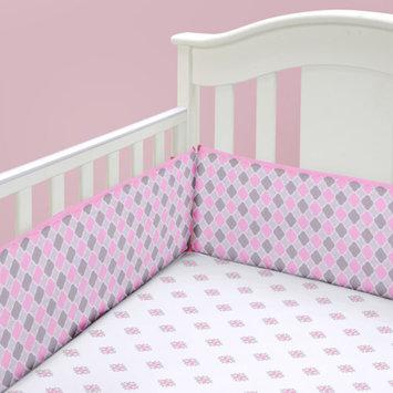 Baby Boom Mosaic Girl Crib Sheet, Pink/Grey/White